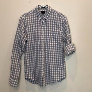 J. Crew Men's Medium Slim Grey Plaid Shirt